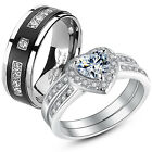 3 Pc Her .925 Sterling Silver His Titanium AAA CZ Matching Wedding Ring Band Set