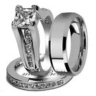 Hot Sale Hers .925 Sterling Silver His Tungsten Engagement Wedding Ring Band Set