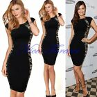 Women Sexy Colorblock Lace Silm Optical Illusion Party Bodycon Pencil Dress N747