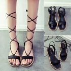 New Women Mid Calf Strappy Gladiator Lace Up Flats Sandals Open Toe Summer Boots