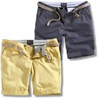 Surplus Raw Vintage Xylontum Chino Style Washed Cotton Belted Shorts Navy / Beig