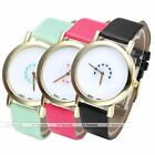 Lady Rotating Disc Heart Pattern Simple Analog PU Leather Band Quartz Wristwatch