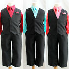 Boy solid black vest and tie red coral pool blue blue wedding ring bearer party