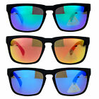 SA106 Mens Black Rubberized Matte Plastic Rectangular Sport Keyhole Sunglasses