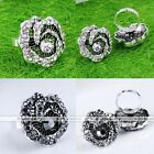 Vintage Rose Flower Crystal Rhinestone Adjustable Cocktail Finger Ring Gift US8
