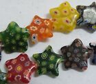 Millefiori Glass Mixed Star Spacers 12mm,18mm,20mm P393-P395