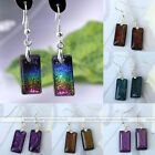 2x Dichroic Fused Foil Lampwork Glass Rectangle Dangle Hook Earring Jewelry Gift