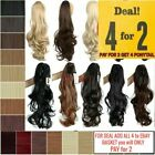 Long Claw Ponytail Clip in Hair Extension Piece Curly Wavy Brown pale blonde Ash
