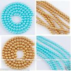 """Womens Round Crystal Pearl Spacer Loose Beads Fashion Jewelry DIY 16""""L 4mm"""