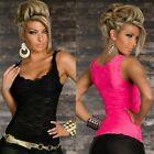 Sexy Women Summer Lace Sleeveless Casual Tank Top Solid Slim Vest T Shirt Blouse