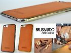 """Brussardo """"Aeon"""" Brown Real Leather Back Bumper Frame Case Apple iPhone 6 Plus"""