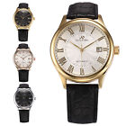 KS Imperial Date Display Leather Automatic Mechanical Mens Sport Wrist Watch