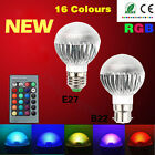 B22 E27 GU10 RGB 5W Color Changing Dimmable LED Light Bulb Lamp Remote Control