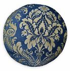 We304n Blue Damask Flower Chenille Round Shape Throw Pillow Case/Cushion Cover