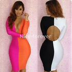 Women's Deep V neck Clubwear Backless Long Sleeve bandage Pencil Dress N466