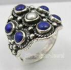 925 Solid  Silver LAPIS LAZULI & AAA PEARL ANCIENT STYLE INDIA Ring Any Size NEW