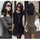 New fashion Womens Korean stylish Long sleeve Off Shoulder Dress N460