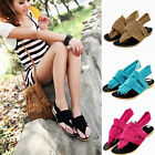 Womens Beach Vintage Thong Sandals T-Strap Flat Flip Flops Slipper Casual Shoes