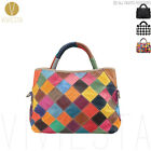 REAL GENUINE LEATHER CHECKERED PATCHWORK SHOULDER BAG Women's Large Tote Handbag