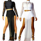 Set Women's Mesh Long Sleeve High Neck Top + Short Pants Sexy Fashion US XS S