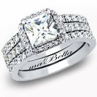 3 PC Women's  Princess Cut .925 Sterling Silver Wedding Engagement Ring Set
