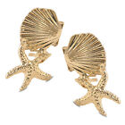 Fashion Lovely Starfish Shell Golf & Silver Earring Sea Star Stud Earrings Gift