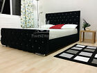 Stylish Black Fabric Upholstered Beds Chenille Leather 4FT6 Double 5FT king Size
