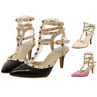 Women's Strap Studded Rivet 6.5 Inch High Heels Pointed Toe Shoes Single Sandals