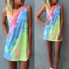 Sexy Women Summer Sleeveless Party Evening Cocktail Casual Mini T Shirt Dress