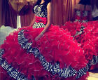 Hot sale Ball Gown Red/Zebra Ruffle Prom/Party/Quinceanera Dresses StockSize2-16