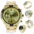 Mens Luxury Heavy Plated Metal Gold Baller Analog Round Quartz Dress Wrist Watch