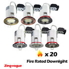 20x Fire Rated Downlights Mains GU10 240V LED Recessed Ceiling Spotlight New