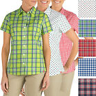 Dickies Shirts Womens Short Sleeve Stretch Poplin Plaid, Checker Shirt FS085