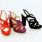 WOMENS LADIES PEEP TOE PLATFORM HIGH HEEL ANKLE STRAP SHOES SIZE 3-8
