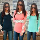 2015 Womens Scoop Neck Lace Long Sleeve Slim Fit Blouse Summer T Shirt Crew Tops