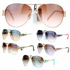 SA106 Womens Art Deco Floral Jewel Arm Designer Fashion Aviator Sunglasses