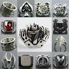 Gothic Military Army Lucky 7 USA Eagle Horse Shoe Greek Key Stainless Steel Ring