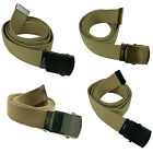"New 48"" Canvas Military Army Style Belt with Silver/Black/Burnished G/S Buckle Belts - 2993"