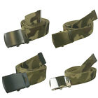 """New 48"""" Canvas Military Army Style Belt with Silver/Black/Burnished G/S Buckle"""