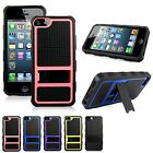 For Apple iPhone 4 Hybrid Rugged Hard Soft Combo Armor Kickstand Shockproof Case