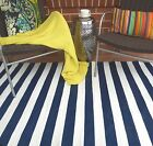 FAB Floor Rugs Nantucket Blue & White Poly Modern Stripe Indoor/Outdoor Sizes