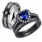 His Her Titanium Created Blue Sapphire Sterling Silver Hot Wedding Ring Band Set
