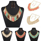 New Fashion Jewelry Bohemia Tassel Choker Chunky Statement Bib Necklace Earrings