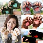 NEW BRAND Winter Women Paw Gloves Fingerless Fluffy Bear Cat Plush Paw