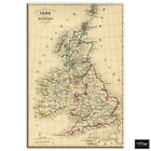 Old Vintage UK Atlas   Maps Flags BOX FRAMED CANVAS ART Picture HDR 280gsm