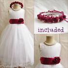 Beautiful white/apple red flower girl party dress FREE HEADPIECE all size