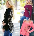 New Women Leopard Long Sleeve Casual Tee T-Shirt Blouse T shirt Loose Sexy Tops