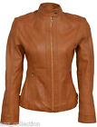 Ladies 4550 TAN WASHED Cool Retro Biker Style Motorcycle Premium Leather Jacket
