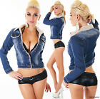 Sexy Women's Denim Jacket Long Sleeve Lined Fur Dark Blue Jacket Size 8-14