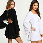 Womens Chiffon Backless Casual Cocktail Loose Party Short Mini Dress